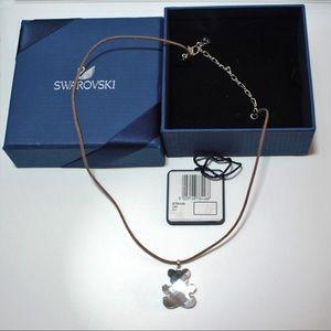 swarovski crystal sliver teddy bear necklace